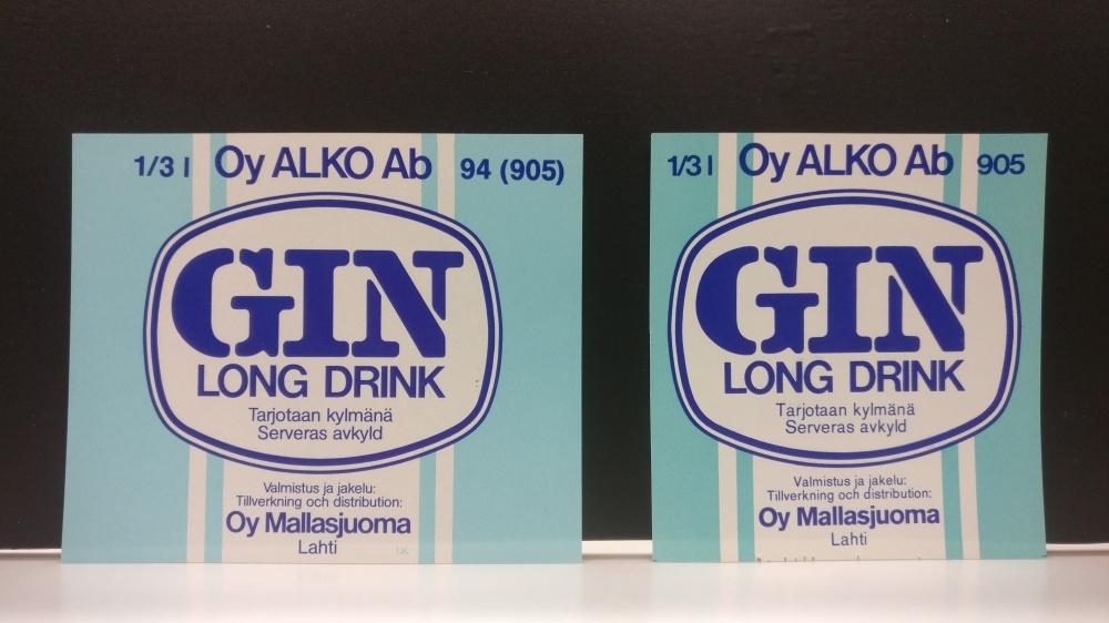 Mallasjuoman Gin long drink -etiketit, 1980-luku. Hotelli- ja ravintolamuseo, Alkon kokoelma.