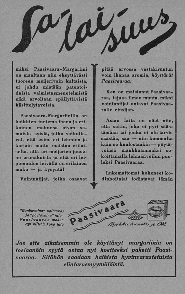 """Paasivaara-margariinin mainos. Otsikko """"Salaisuus"""", alla tekstiä."""
